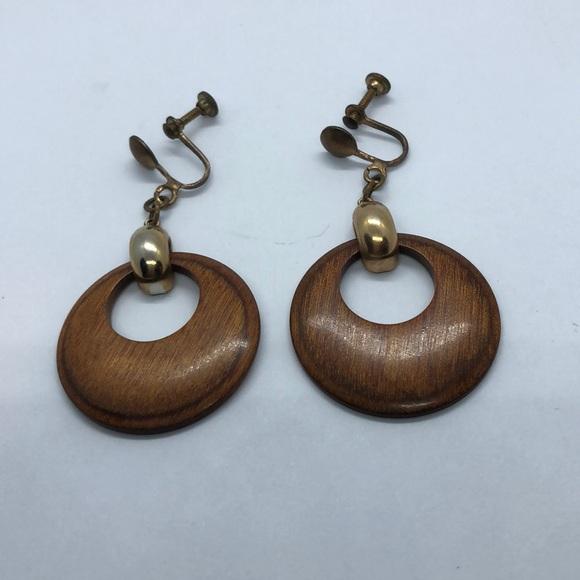 Vintage Jewelry - VTG Wooden Earrings